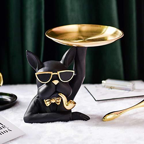 Walbest Funny Bulldog Decorative Table Trays, Jewelry Key Tray Holder Dish, Gold Jewelry Dish Tray Vanity Trays for Bathroom Counter, Dresser Tops, Entryway Table Black