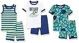 Spotted Zebra Boys' Snug-Fit Cotton Pajamas Sleepwear, 6-Piece Snakes Shorts Set, Small, Label: Small