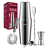 Cocktail Shaker, Cocktail Shakers 750ml, Cocktail Making Set 6 Piece, Cocktail Shaker Kit with Strainer, Double Jigger, Bar Mixing Spoon, Boston Shaker Bartender Maker Martini sets for Christmas Gifts