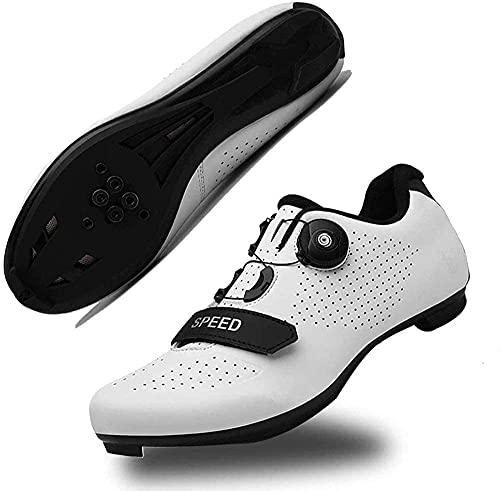 KUXUAN Zapatillas de Ciclismo para Hombre con SPD,Zapatillas Peloton con Hebilla Delta Compatibles para Competiciones de Equitación en Interiores,White-38 EU