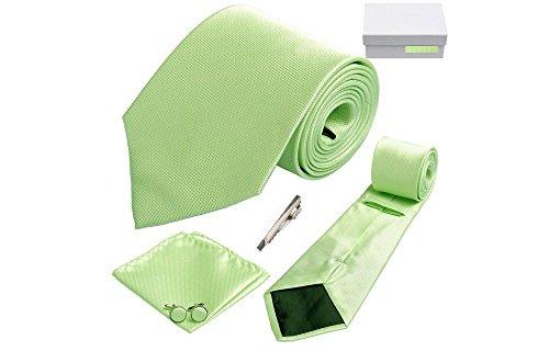 Coffret Canberra - Cravate vert anis, boutons de manchette, pince à cravate, pochette de costume