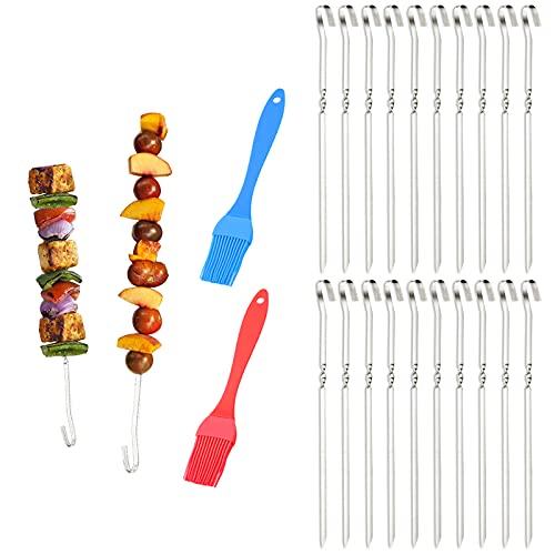 Fuyamp 20 Stücke Grillspieße,40cm Lang Metall BBQ Spieße mit 2 Stck Silikonlbrste mitgeliefert, Schaschlikspieße Fleischspieße für Fleisch, Gemse, Stockbrot zum Grillen