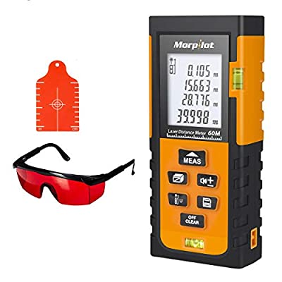 131ft Laser Measure - Laser Tape Measure with Target Plate & Enhancing Glasses, Laser Measuring Device with Pythagorean Mode, Measure Distance, Area, Volume Calculation