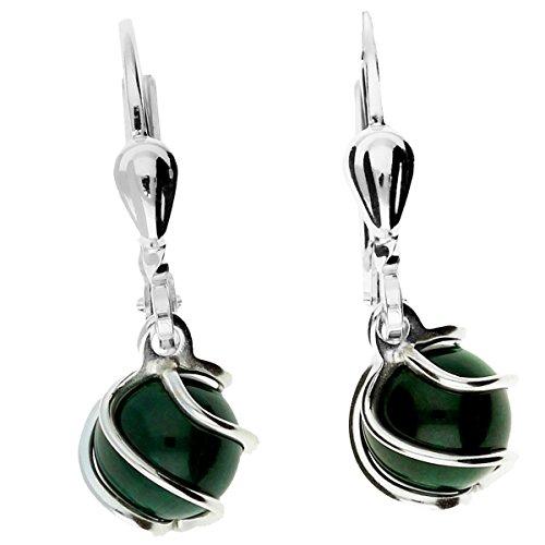 MYA art Damen Creolen 925 Silber rhodiniert mit Malachit Perlen Anhänger Ohrringe Hängend Draht Perlenohrringe Grün