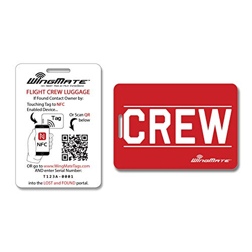 WingMate Titan Smart Passive Tracking CREW Luggage Tag with Web App! Extra Durable Crew Tag (Red/White)