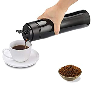 Portable French Press Coffee Maker - Vacuum Insulated Travel Mug - Hot and Cold Tea and Coffee (12 oz)