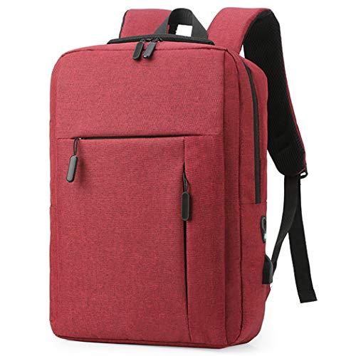 Fransande Fashion USB Laptop Backpack Leisure Business Waterproof Large Capacity Backpack Travel Bag Student School Bag Red Wine