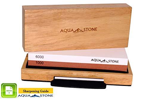 Professional Knife Sharpening Stone, Premium 2 Side Sharpener Kit, Japanese Whetstone Grit 1000/6000 Waterstone. NonSlip Wood Base FREE Angle Guide, Silicone Base with Stylish Wood GIFT Box