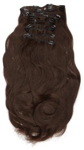 Love Hair Extensions - LHE/K1/QFC/120G/10PCS/18/2 - Thermofibre™ Lisses et Soyeux - 10 Pièces Clippants en Extensions - Couleur 2 - Brun Foncé - 46 cm