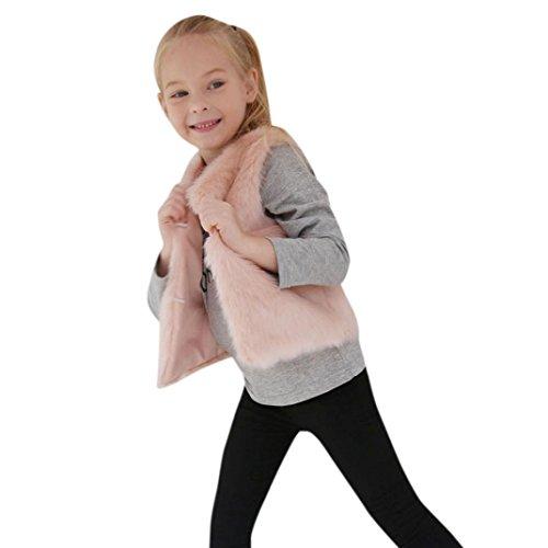 Longra Kinder Mädchen Modisch Kunstpelz Weste Fellweste Kunstfell Winterjacke Kinder Ärmellos Wintermantel Faux-Pelz Mantel Waistcoat Pelzweste Parka Outwear (3-8Jahre) (110CM 5Jahre, Pink)