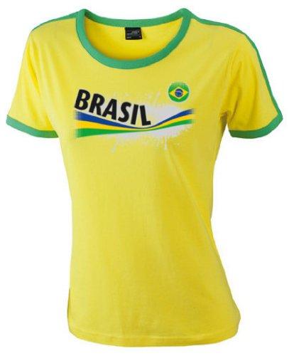 Brasilien Damen T-Shirt Ladies Flag Shirt Vintage|S