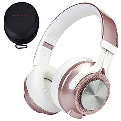 PowerLocus P3 Bluetooth Headphones Over-Ear, [40h Playtime, Bluetooth V5.0] Wireless Headphones,Hi-Fi Stereo, Foldable Headphone with Mic, Deep Bass,Wired Mode for Cell Phones/Laptop/PC/TV (Rose Gold) from PowerLocus