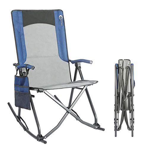 PORTAL Oversized Quad Folding Camping Chair High Back Hard Armrest Storage Pockets Carry Bag Included, Support 300 lbs (Blue)