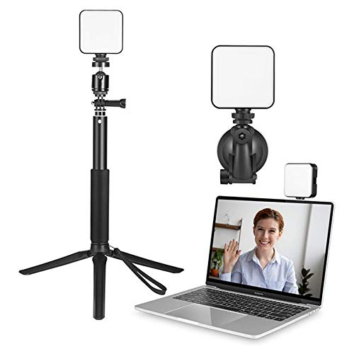 Video Conference Lighting with Tripod and Suction Cup 3200k-5600k with 2 Light Modes Webcam Light for Laptop/pc Monitor/desk/bed/office/makeup