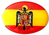 NEW TORO Pegatina de Resina Bandera España con Escudo Aguila España 65x45mm, 1 Uds