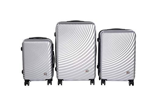 3 TEILIGES Kofferset EINMALIG IMEX Koffer Trolley HARTSCHALE ABS REISEKOFFER Set 3400 (Silber)