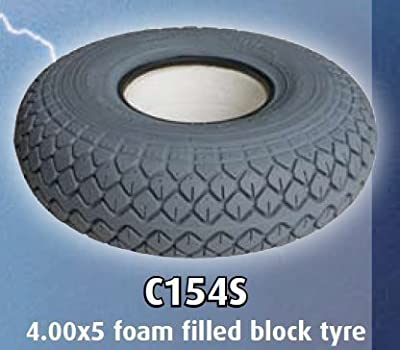 330x100 (4.00x5) Grey Block Foam Filled Solid Mobility Scooter Tyre