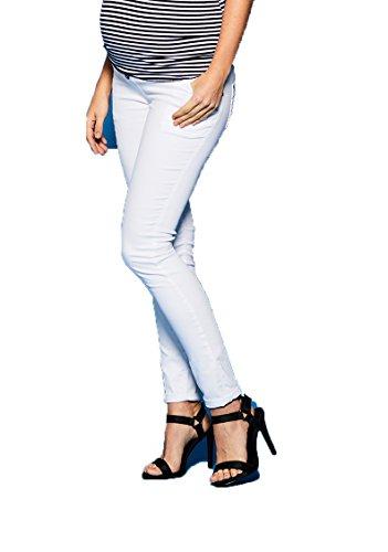 Love2Wait Superskinny Damen Schwangerschaftsjeans Umstandshose Five-Pocket-Jeans elastisch tiefer Bund schmaler Schnitt- Gr. XXL (Herstellergröße: 33/34), Weiß