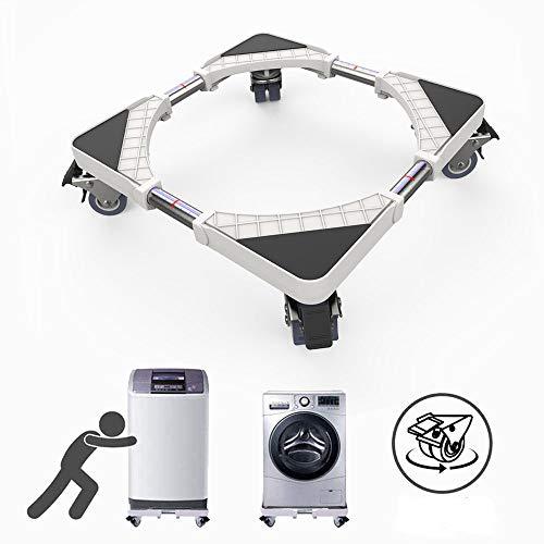 Dewel Supporto lavatrice base regolabile da 45 cm a 70 cm, Carrello lavatrice con 4 ruote girevoli doppie in gomma, supporto per lavatrice, asciugatrice e refrigeratore, girevole a 360°