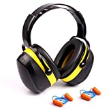 Noise Reduction Earmuffs Safety Hearing Protection Noise Cancelling Earmuffs, NRR 28dB / SNR 34dB with 2 Pairs Ear Plugs, Foldable & Adjustable and Light Weight Ear Muffs for Men Women Adults