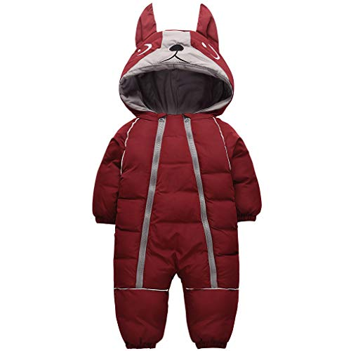 JiAmy Bambino Tuta da Neve Pagliaccetto Inverno Cappuccio Tute Ragazzi Ragazze Infantile Cappotto Snowsuit Borgogna 9-12 Mesi
