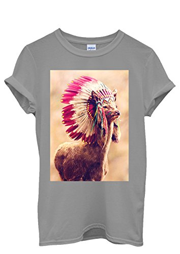 Indian Tocado Llama Animal Divertido Novedad Hombres Mujeres Unisex Top T Shirt