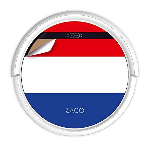 ZACO V5sPro Saugroboter mit Wischfunktion, automatischer Staubsauger Roboter, 2in1 Wischen bis zu 180qm oder Staubsaugen, für Hartböden, Fallschutz, beutellos, mit Ladestation, Niederländische Flagge