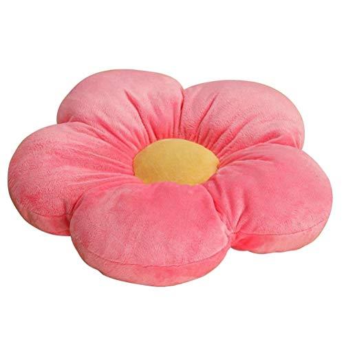 Knowooh Blumen Bodenkissen für Kinder, Weiches Sitzkissen Karikatur Plüsch Spielzeug Dekorativ Pillow für Haus und Garten, 50CM, Rosa