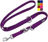 DDOXX Hundeleine Nylon, 3fach verstellbar, 2m | für kleine & große Hunde | Doppel-Leine Zwei Hund Katze Welpe | Schlepp-Leine groß | Führ-Leine klein | Lauf-Leine Welpen-Leine | M, Lila