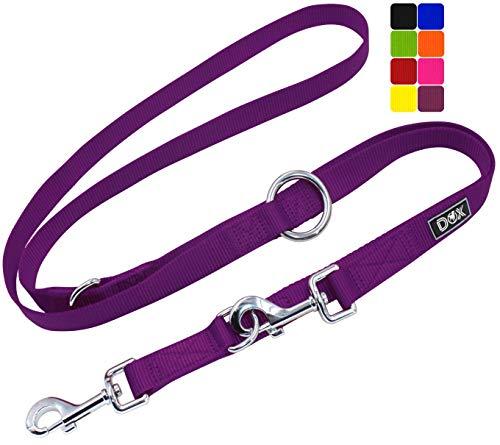 DDOXX Hundeleine Nylon, 3fach verstellbar, 2m | für kleine & große Hunde | Doppel-Leine Zwei Hund Katze Welpe | Schlepp-Leine groß | Führ-Leine klein | Lauf-Leine Welpen-Leine | XS, Lila