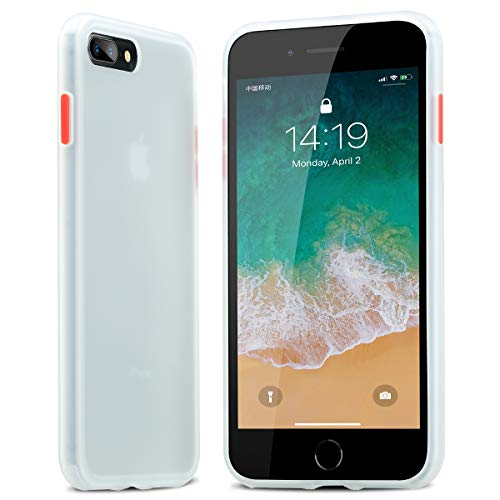 BENKS Cover iPhone 8 Plus, Cover iPhone 7 Plus, Custodia iPhone 8 Plus 7 Plus Antiurto Antiscivolo Protezione in Silicone TPU + PC Case per iPhone 8/7 Plus 5.5 Pollici - Bianco