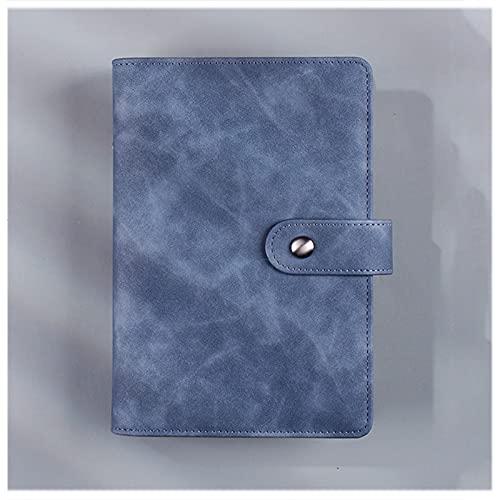 2 Piezas A6 Cuaderno Piel Vegana Bloc Notas Hojas Sueltas Forrado Anillo bolígrafo Hebilla Magnética Metal Ranura tarjetas Libreta para Office School Home Business Writing,Denim blue