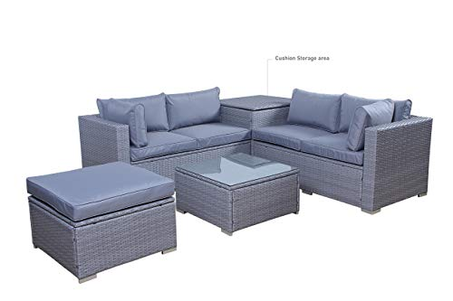 TFS Monaco Grey Rattan Effect Corner Garden Sofa 5 Piece Set with Storage