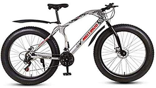 HCMNME Durable Bicycle 26 Inch Bicycle Mountain Bikes for Adult, Fat Tire Mountain Trail Bike, Dual Disc Brake Hardtail Mountain Bike, High-Carbon Steel Frame Alloy Frame with Disc Brakes