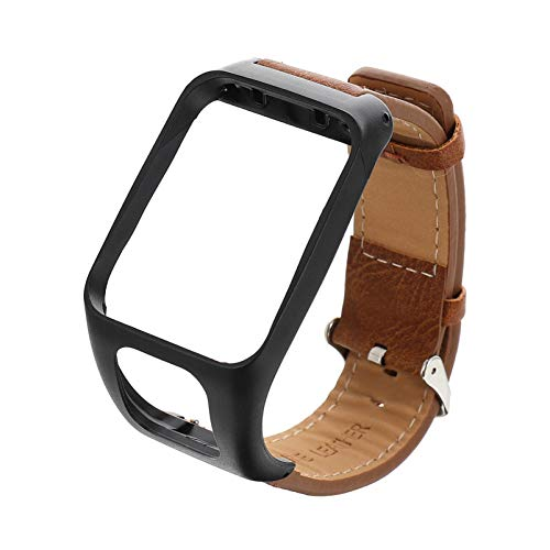 Hemobllo Leather Watch Bands Strap Replacement Super Soft Durable Wristband Men Women Compatible for Tomtom Runner 3 Tomtom Adventurer Brown