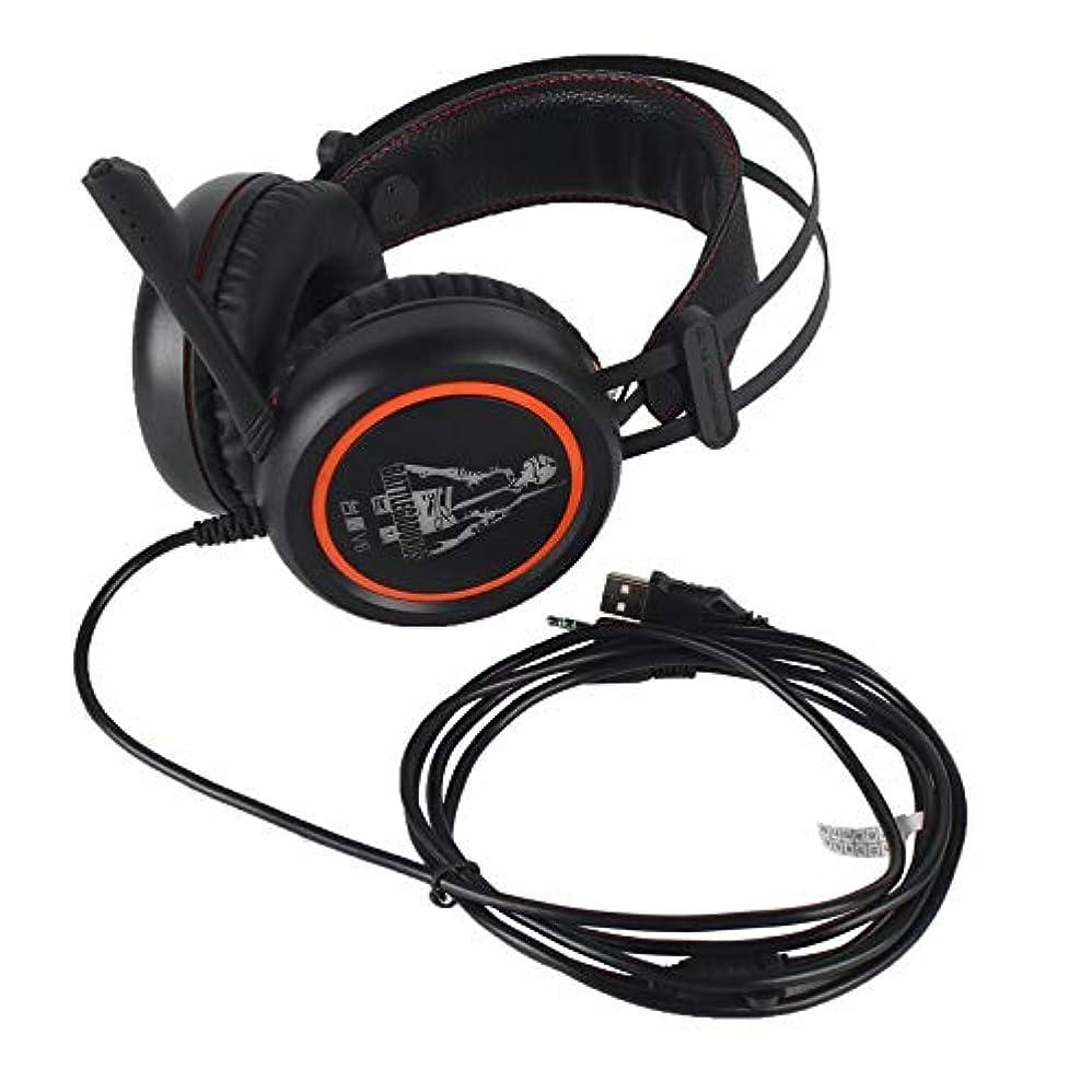 共和党発見対象有線ゲーミングヘッドフォンA6L USBオーバーイヤーゲームヘッドセットイヤホン(マイク付き)ゲーマーポータブル用-オレンジ&ブラック