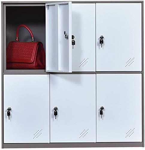 MECOLOR - Armario Tipo taquilla, metálico, para oficinas, para empleados - Blanco - 6D