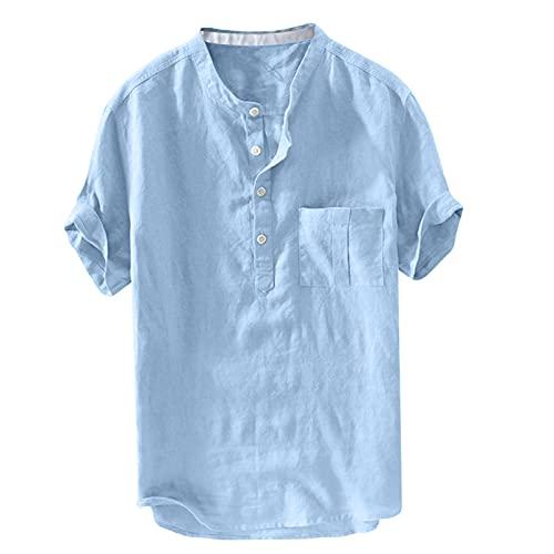 Camisas para hombre Home de color puro con botones de lino sólido, manga corta, estilo retro azul XL