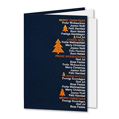 50x dunkelblaue Weihnachtskarte mit Einleger - Set mit Umschlägen - 11,5 x 17 cm - DIN B6 - Hologrammfolien-Prägung in Kupfer und Silber - Schriftzug Frohe Weihnachten, mehrsprachig - Faltkarte