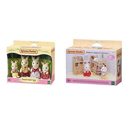 SYLVANIAN FAMILIES Familia de Conejos + Children's Bedroom Furniture Mini muñecas y Accesorios, (Epoch para Imaginar 4254)