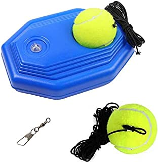 N-A Tennis Trainer Tennis Ball Trainer Tennis Equipment Sport Exercise Tennis Base with A Rope Self-Study Tennis Rebound Player with 2 Trainer Baseboard Training Balls (Blue)