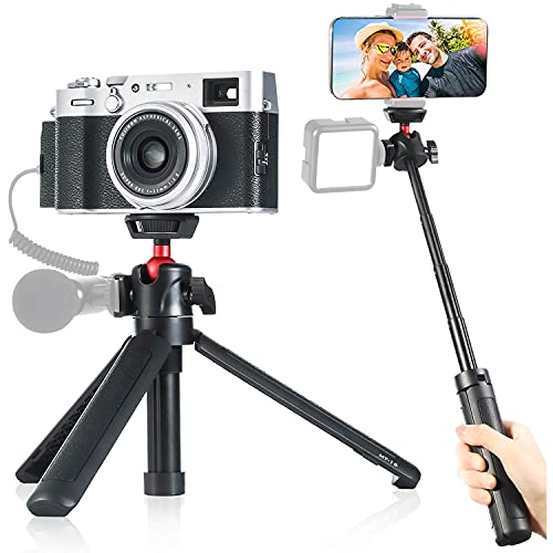 MT-16 Handy Stativ und Kamera Mini Stativ, Smartphone Selfie Stick, 4 Abschnitte,44 cm Länge, mit Panorama-Kugelkopf und 1/4'' Gewinde für iPhone Samsung One Plus und Sony Canon Nikon ect DSLR Kameras