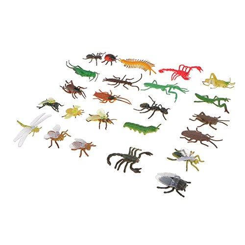 24x Mini Insekten Figuren Modell Sammelfiguren Spielfiguren, aus Plastik