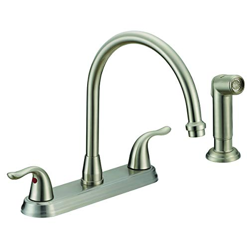 EZ-FLO 10202 Two-Handle Kitchen Faucet with Sprayer, Brushed Nickel