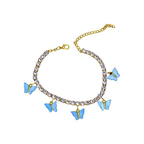 WFZ17 Rhinestone Butterfly Pattern Boho Anklets Foot Chain Pendant Bracelets Jewelry for Women Girls Blue 2