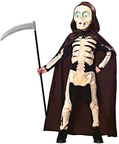 Amscan 9902797 - Kinderkostüm Sensenmann, Overall, Umhang, Maske, Grim Reaper, Skelett, Horror, Mottoparty, Karneval, Halloween