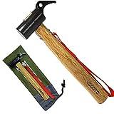 【YOGOTO】 ペグハンマー 木製 持ち手 安全 ベルト 付 (ヘッド スチール 収納袋付き (ヘッド スチール)) …