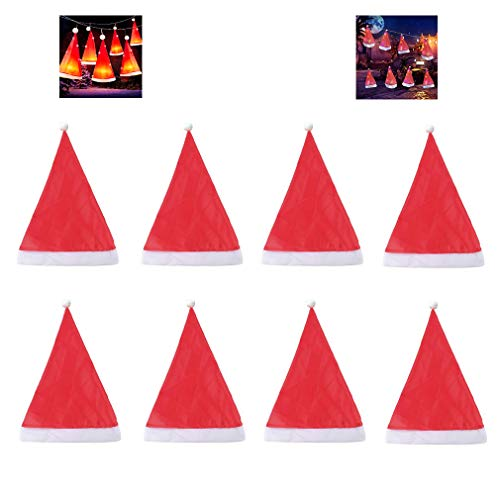 8PCS Christmas Decorations Santa Hats with 10Pcs LED Inside Outdoor Hanging Lighted Glowing Christmas Hat Decorations for Outdoor Christmas Decorations, Yard, Tree