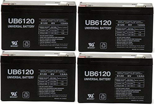 Universal Power Group UB6120 6V 12Ah NPX-50 SLA10-6 BP10-6 GP6120 ES12-6 Rechargeable Battery - 4 Pack
