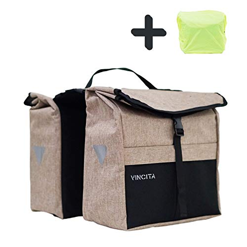 Vincita Top Load Double Pannier Water Resistant Cycling Side Bags - with Rain Cover, Large, Carrying Handle, Reflective Spots - Bike Rack Carrier Saddle Bag - Bicycle Accessories (Black/Light Brown)
